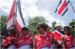 The Costa Rica Team cheer on their teammates as they compete